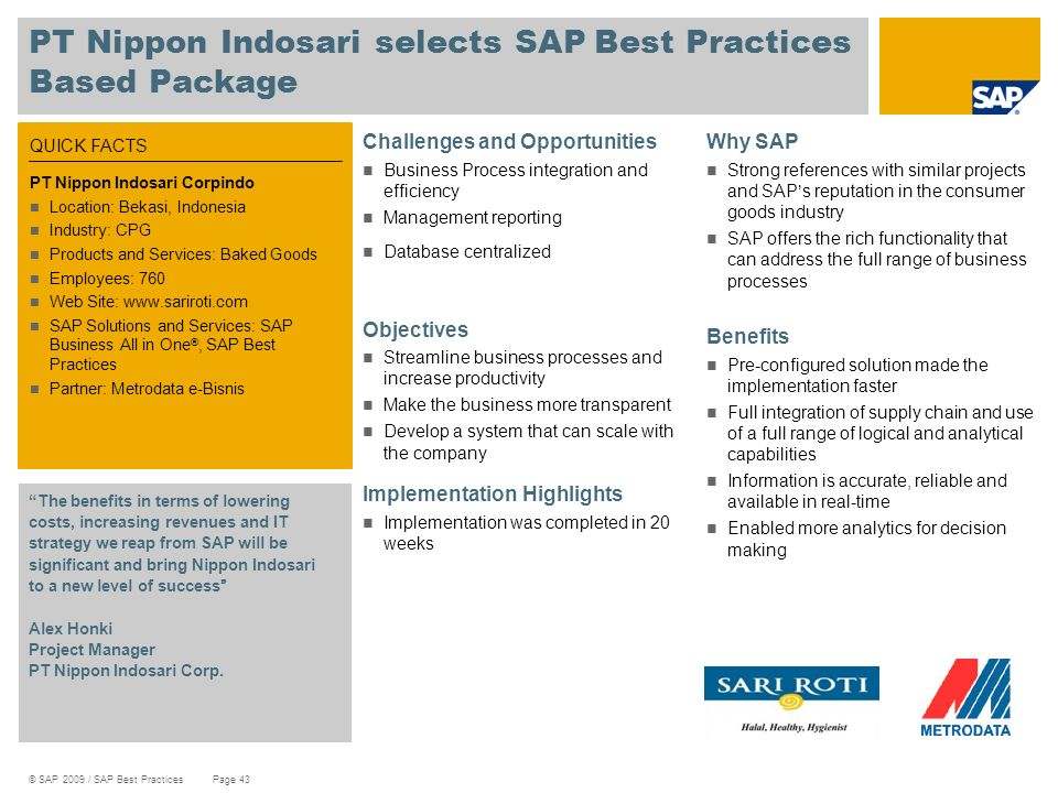 PT Nippon Indosari selects SAP Best Practices Based Package