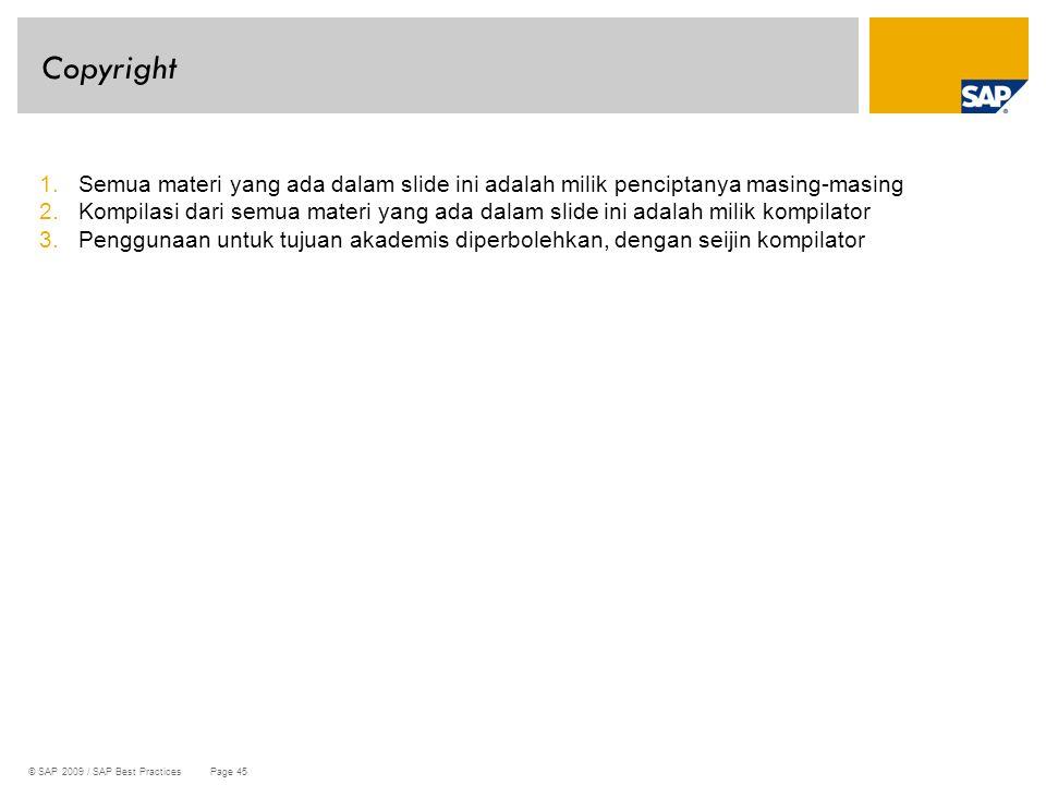 Copyright Semua materi yang ada dalam slide ini adalah milik penciptanya masing-masing.