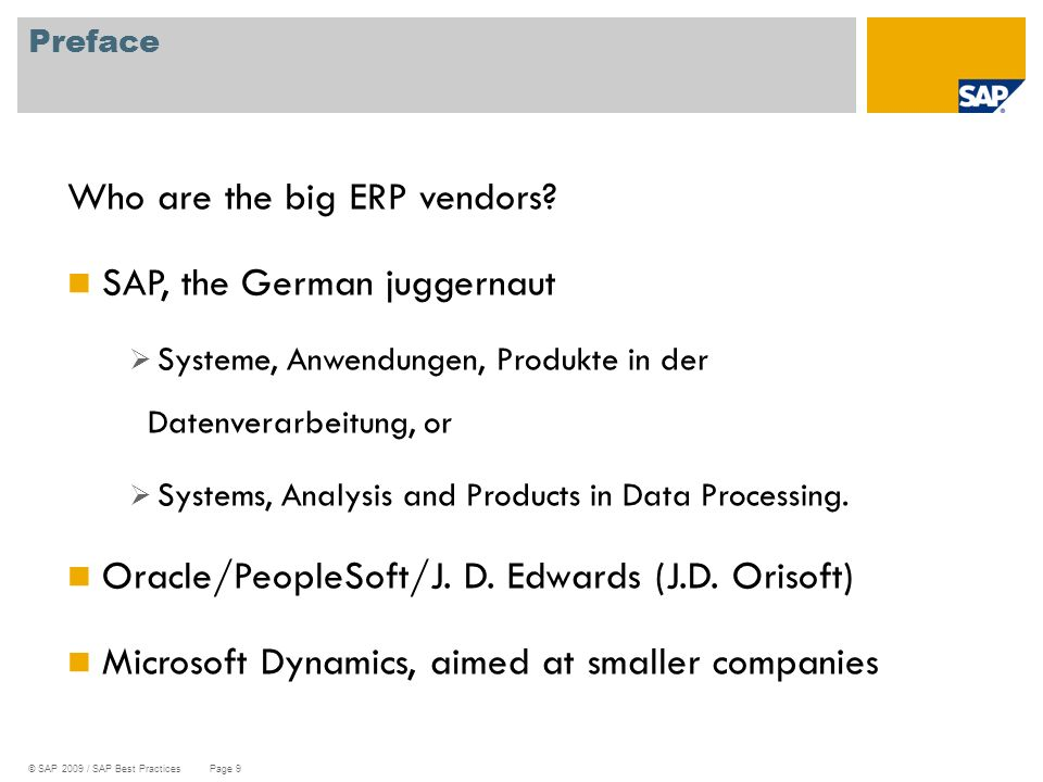 Who are the big ERP vendors SAP, the German juggernaut