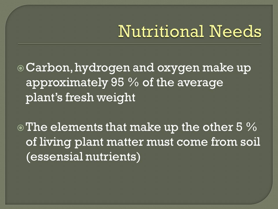 Nutritional Needs Carbon, hydrogen and oxygen make up approximately 95 % of the average plant's fresh weight.