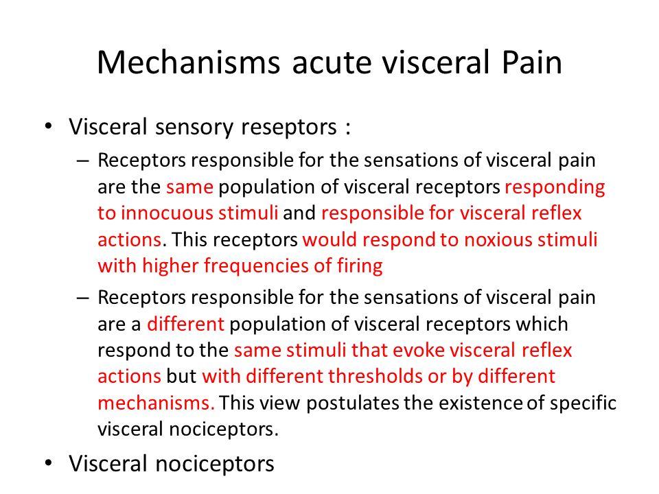 Mechanisms acute visceral Pain