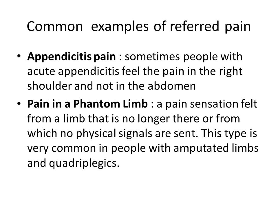 Common examples of referred pain