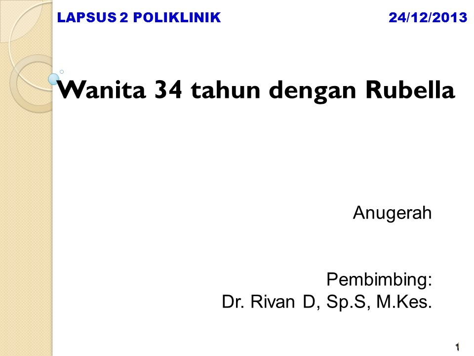 Wanita 34 tahun dengan Rubella