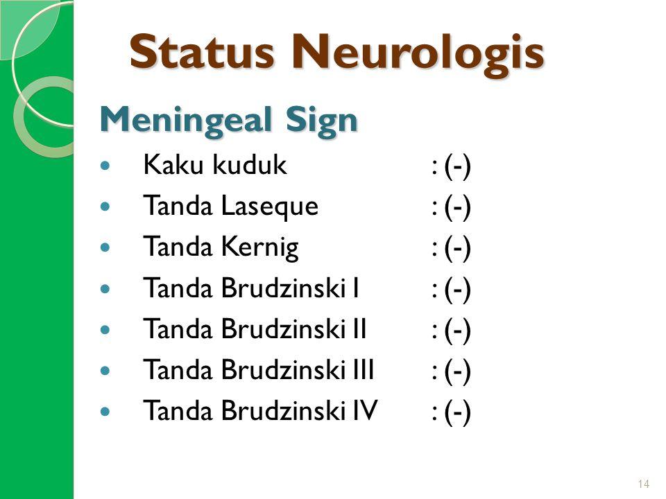 Status Neurologis Meningeal Sign Kaku kuduk : (-) Tanda Laseque : (-)