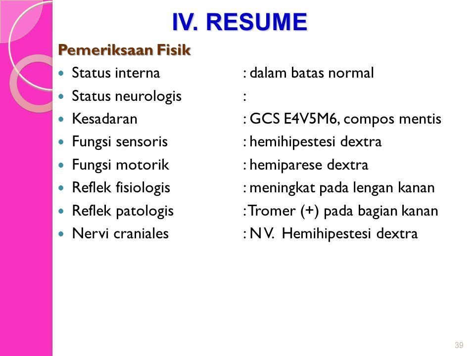 IV. RESUME Pemeriksaan Fisik Status interna : dalam batas normal