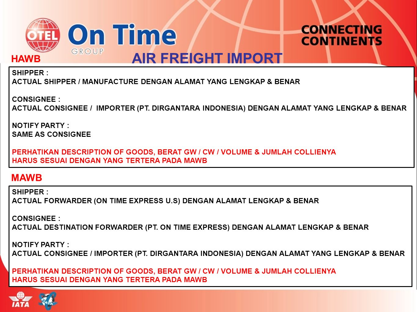 AIR FREIGHT IMPORT HAWB MAWB SHIPPER :