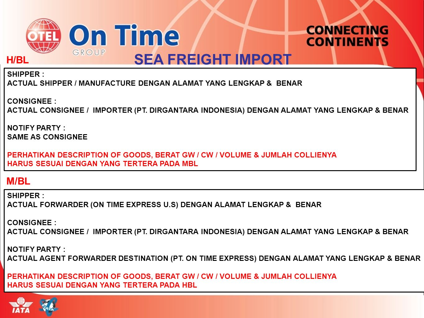 SEA FREIGHT IMPORT H/BL M/BL SHIPPER :