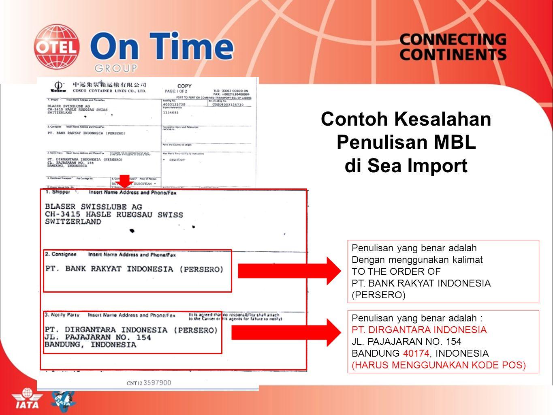 Contoh Kesalahan Penulisan MBL di Sea Import