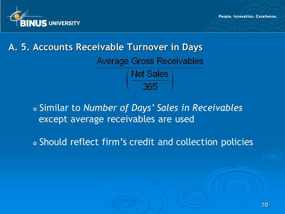 A. 5. Accounts Receivable Turnover in Days