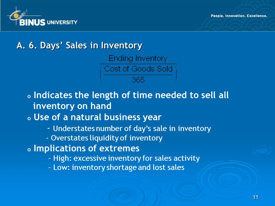 A. 6. Days' Sales in Inventory