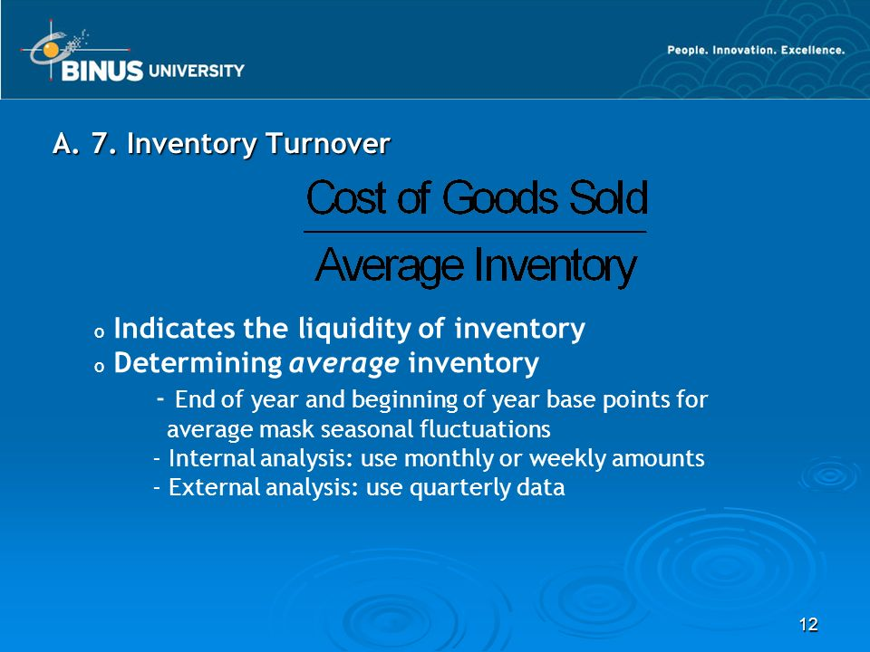 Indicates the liquidity of inventory Determining average inventory