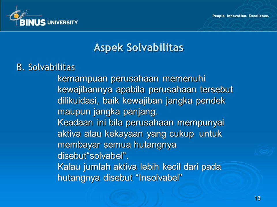 Aspek Solvabilitas B. Solvabilitas kemampuan perusahaan memenuhi