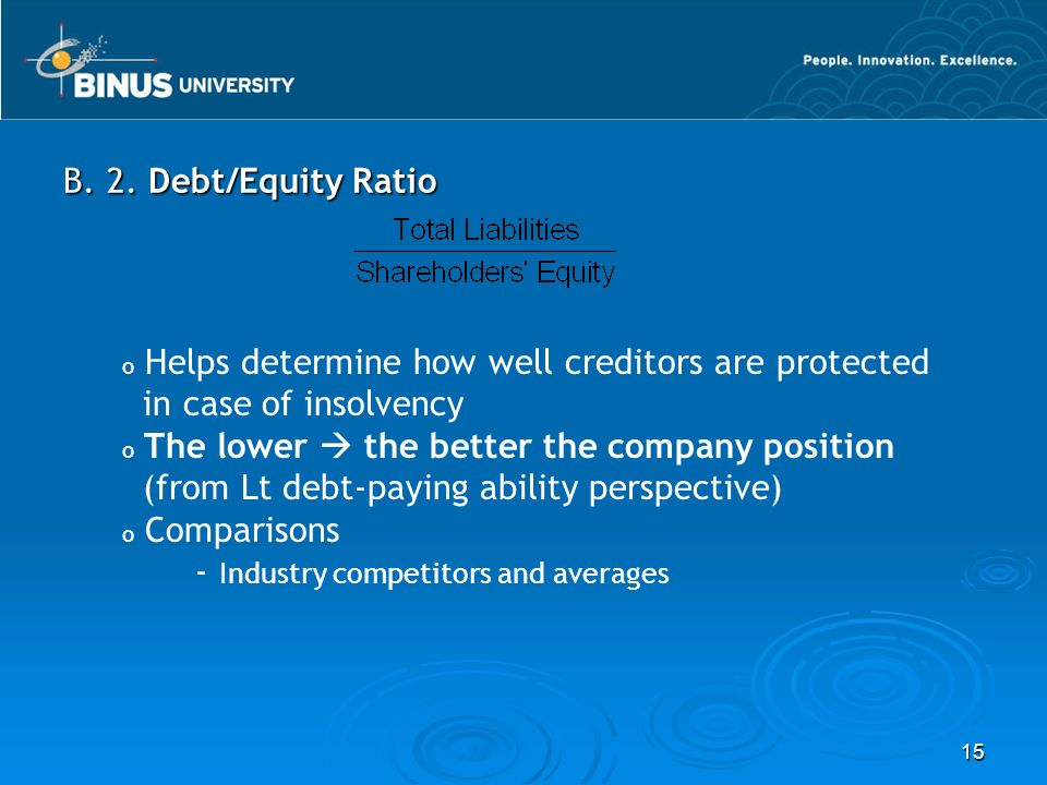 B. 2. Debt/Equity Ratio Helps determine how well creditors are protected. in case of insolvency. The lower  the better the company position.