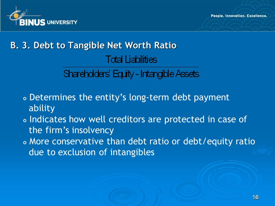 B. 3. Debt to Tangible Net Worth Ratio