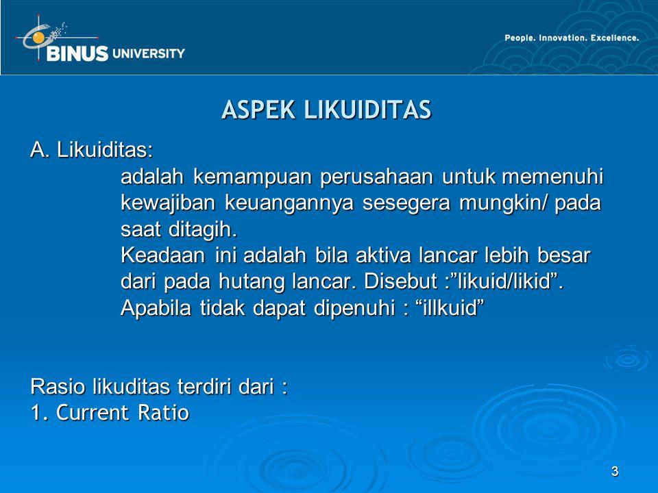 ASPEK LIKUIDITAS A. Likuiditas:
