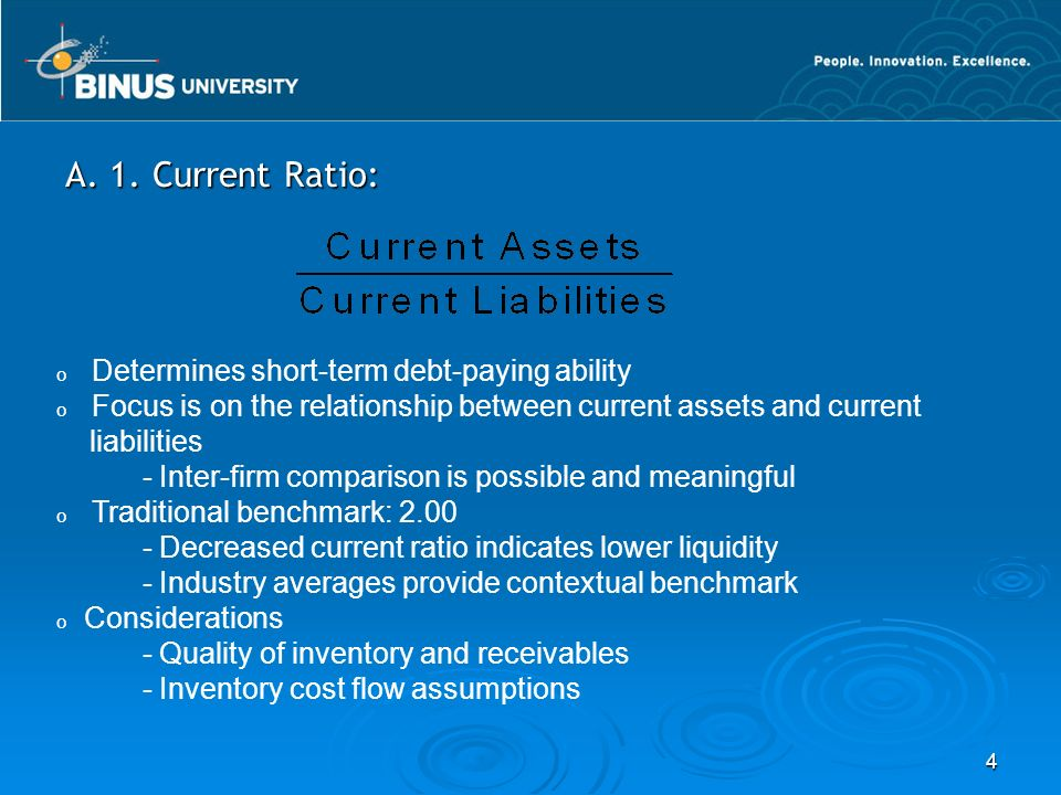 A. 1. Current Ratio: Determines short-term debt-paying ability