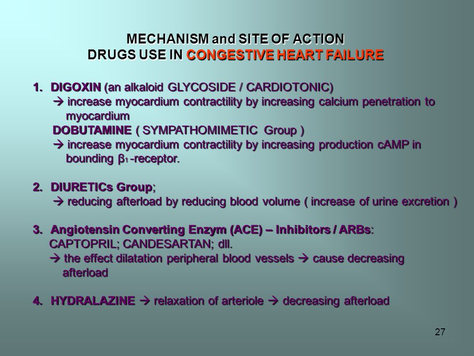 MECHANISM and SITE OF ACTION DRUGS USE IN CONGESTIVE HEART FAILURE
