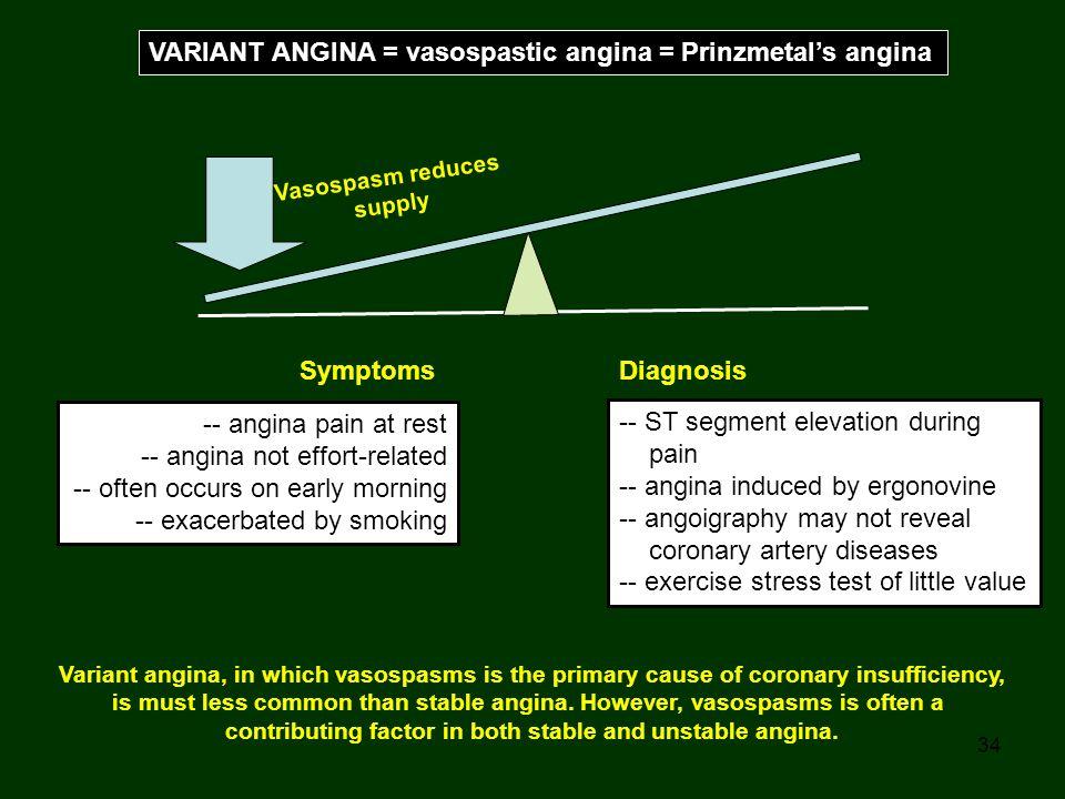 VARIANT ANGINA = vasospastic angina = Prinzmetal's angina
