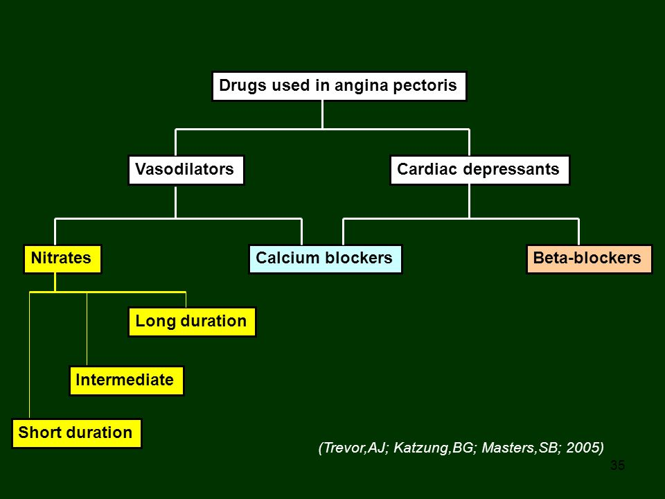 Drugs used in angina pectoris