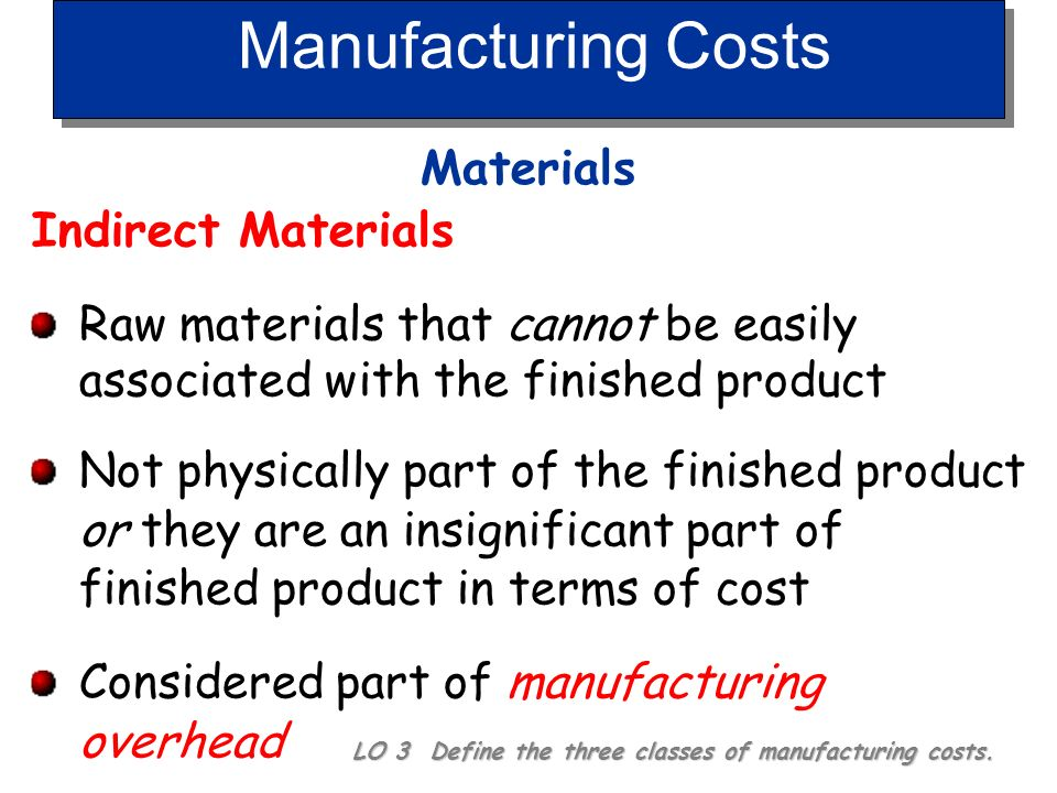 Manufacturing Costs Materials Indirect Materials