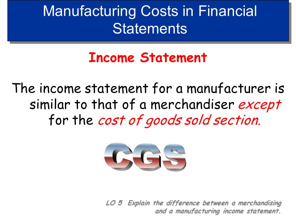 Manufacturing Costs in Financial Statements
