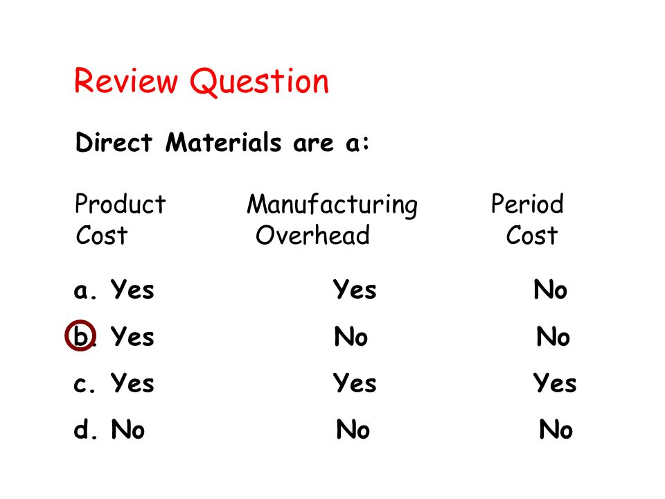 Review Question Direct Materials are a: Product Manufacturing Period