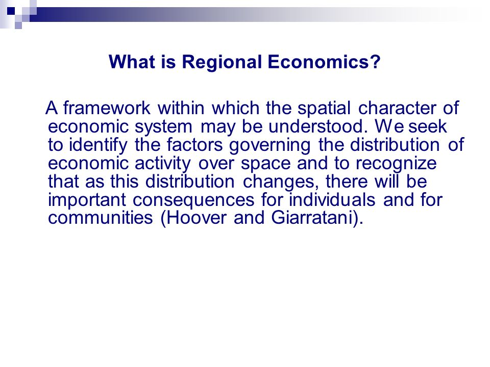 What is Regional Economics