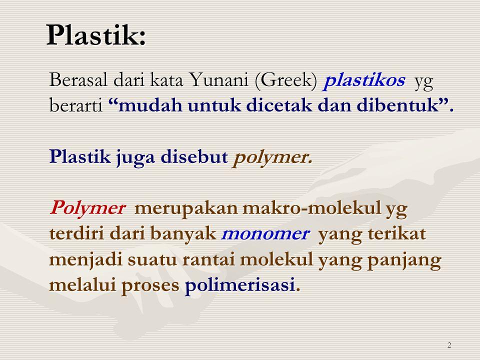 Plastik: Berasal dari kata Yunani (Greek) plastikos yg berarti mudah untuk dicetak dan dibentuk .