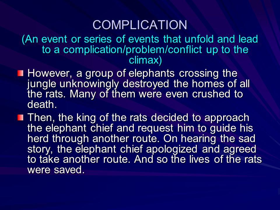 COMPLICATION (An event or series of events that unfold and lead to a complication/problem/conflict up to the climax)