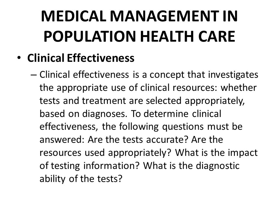MEDICAL MANAGEMENT IN POPULATION HEALTH CARE
