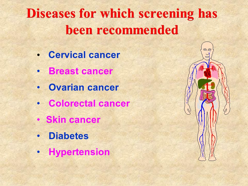 Diseases for which screening has been recommended