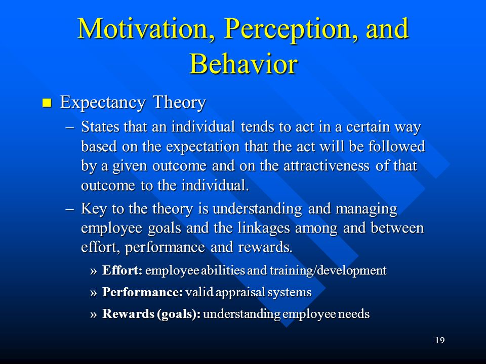 Motivation, Perception, and Behavior