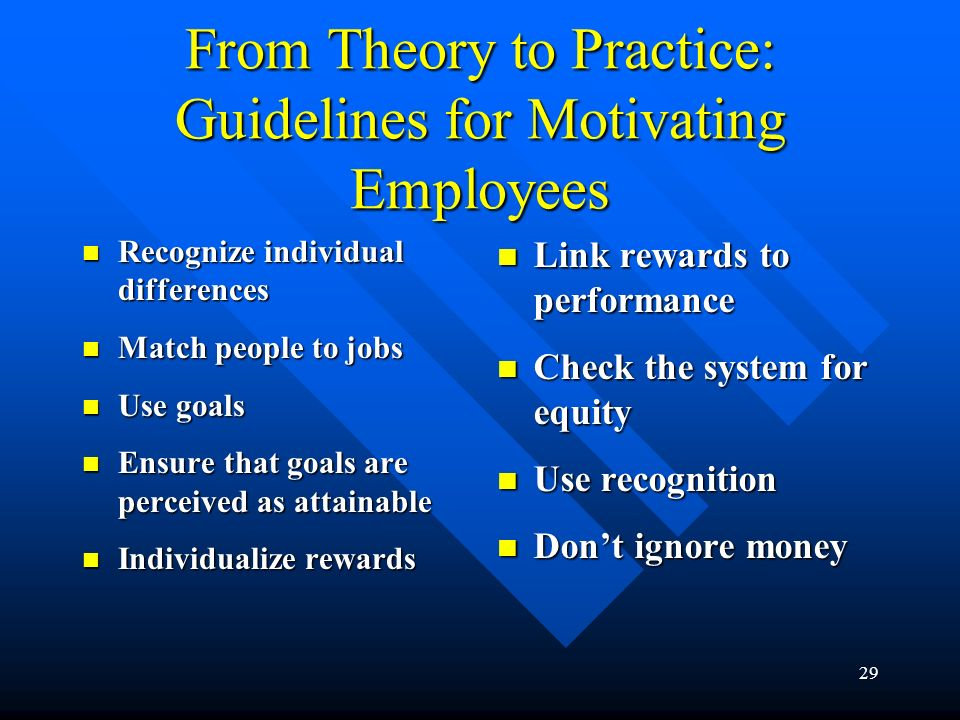 From Theory to Practice: Guidelines for Motivating Employees