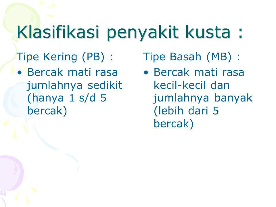 Klasifikasi penyakit kusta :