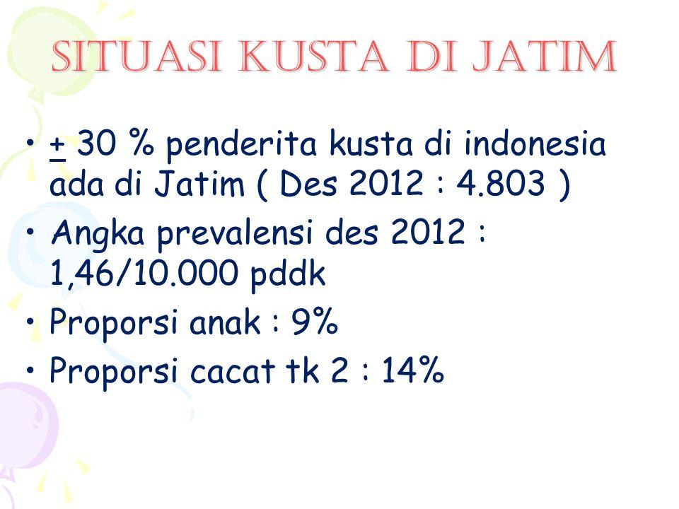 SITUASI kusta di jatim + 30 % penderita kusta di indonesia ada di Jatim ( Des 2012 : 4.803 ) Angka prevalensi des 2012 : 1,46/10.000 pddk.