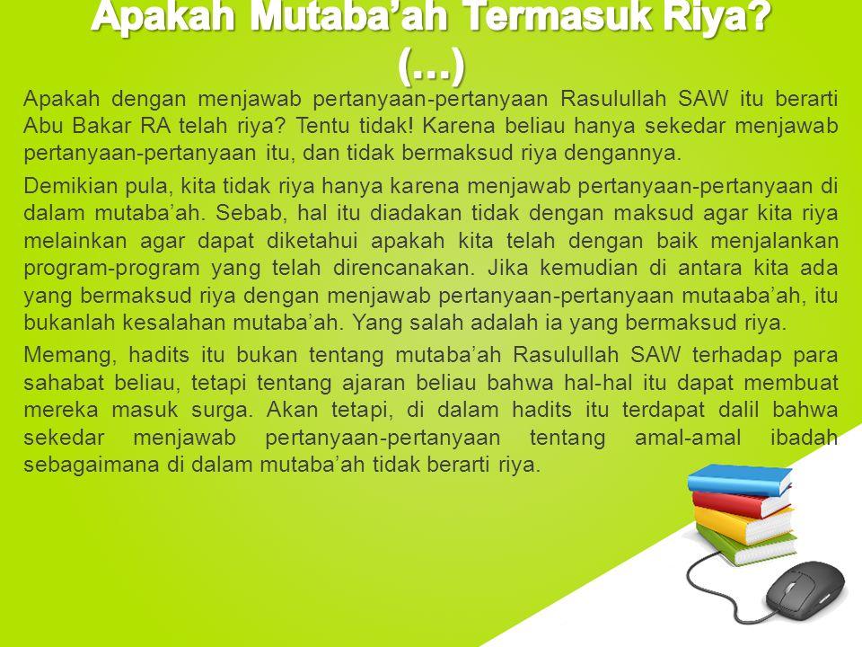 Apakah Mutaba'ah Termasuk Riya (…)