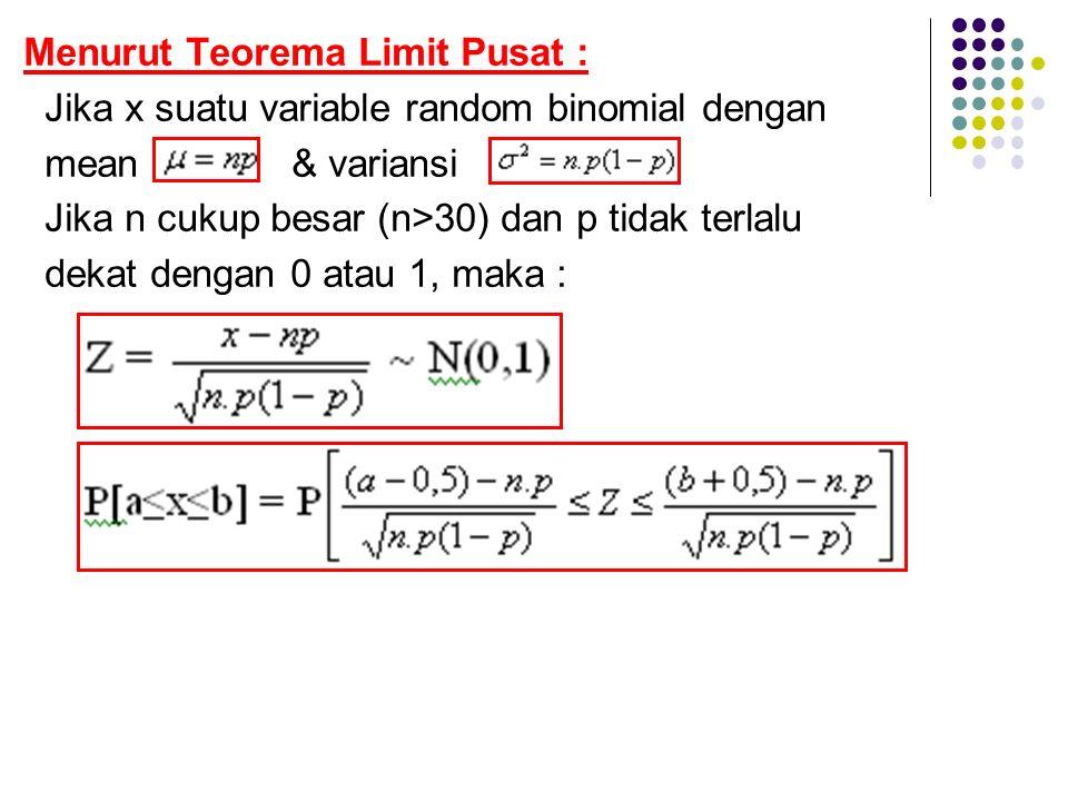 Menurut Teorema Limit Pusat :