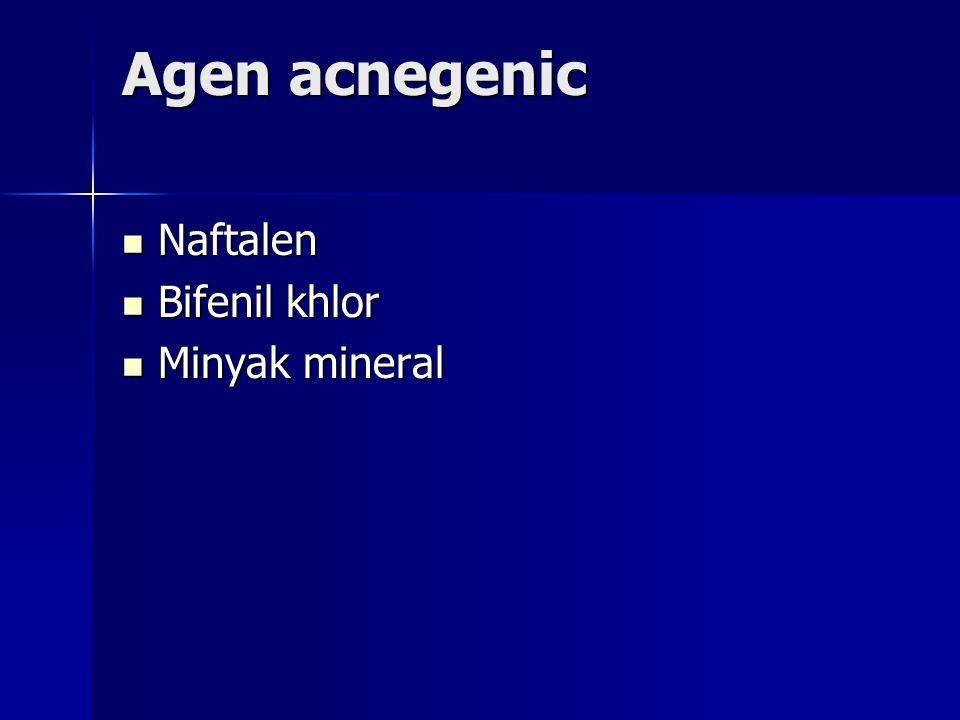 Agen acnegenic Naftalen Bifenil khlor Minyak mineral