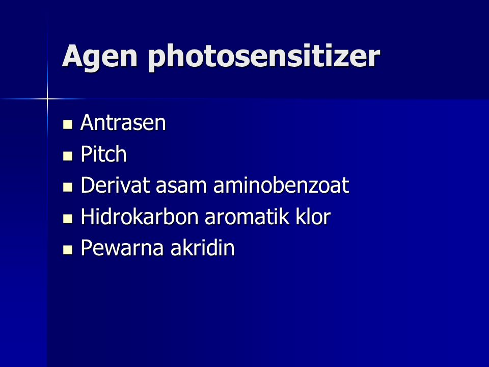 Agen photosensitizer Antrasen Pitch Derivat asam aminobenzoat