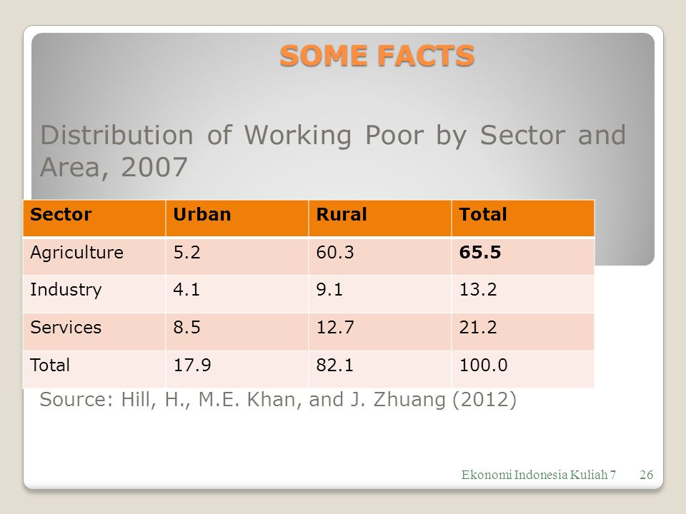 SOME FACTS Distribution of Working Poor by Sector and Area, 2007