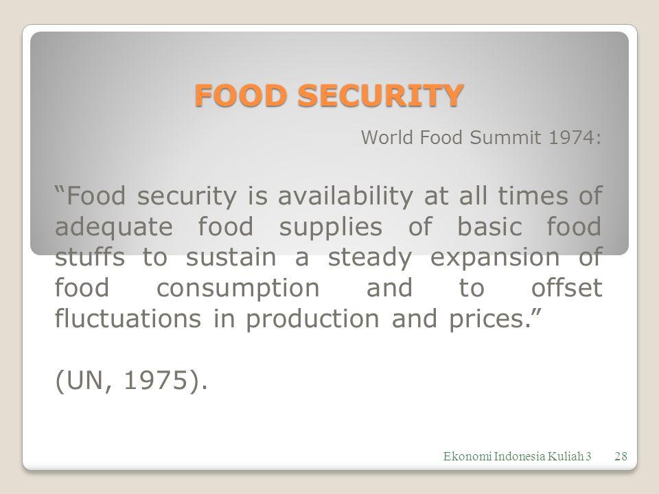 FOOD SECURITY World Food Summit 1974: