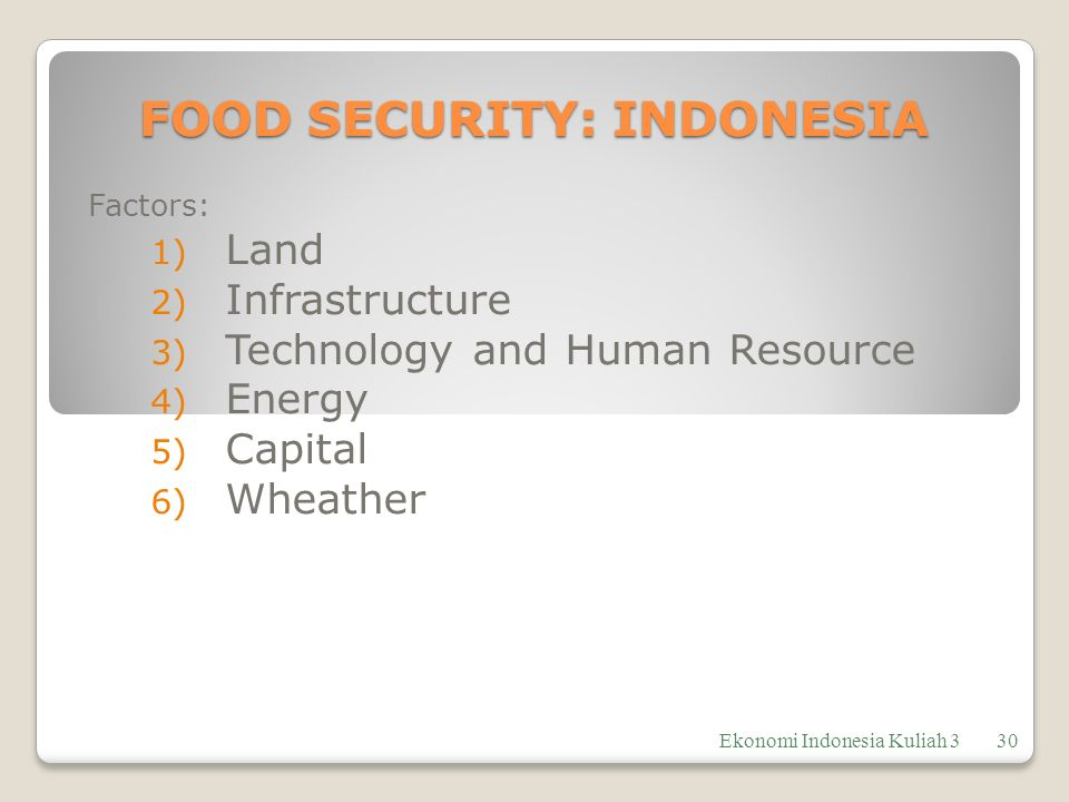 FOOD SECURITY: INDONESIA