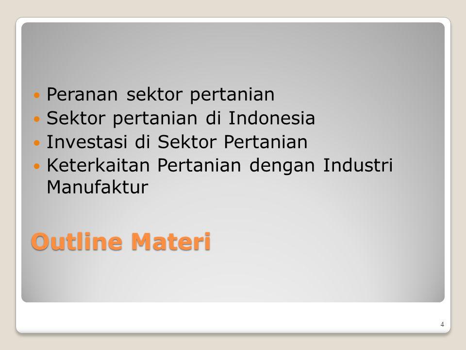 Outline Materi Peranan sektor pertanian Sektor pertanian di Indonesia