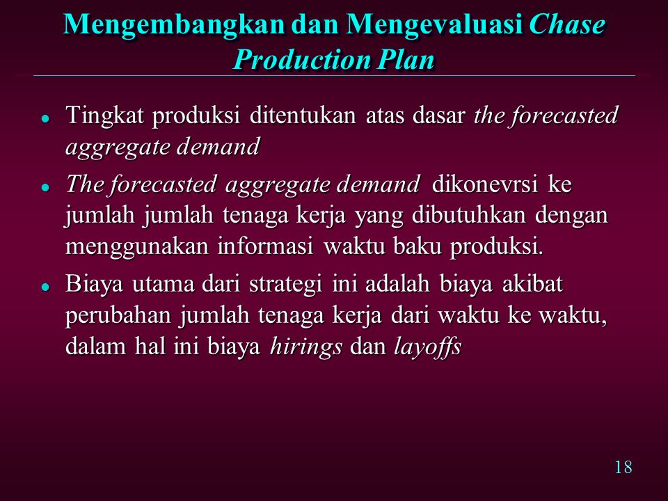 Mengembangkan dan Mengevaluasi Chase Production Plan