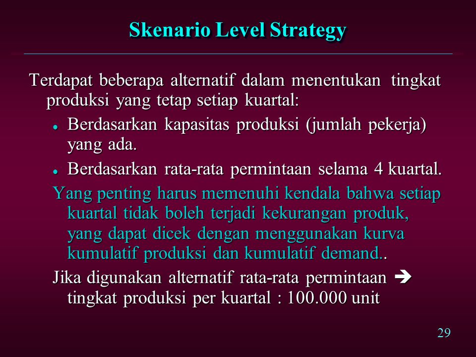 Skenario Level Strategy