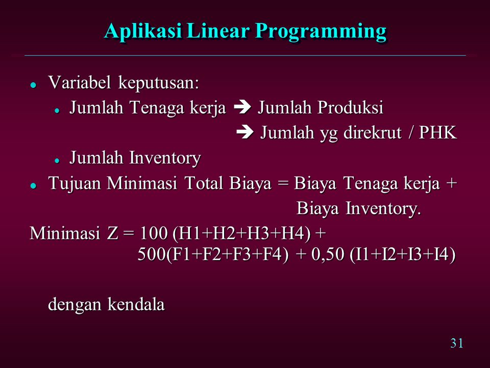 Aplikasi Linear Programming