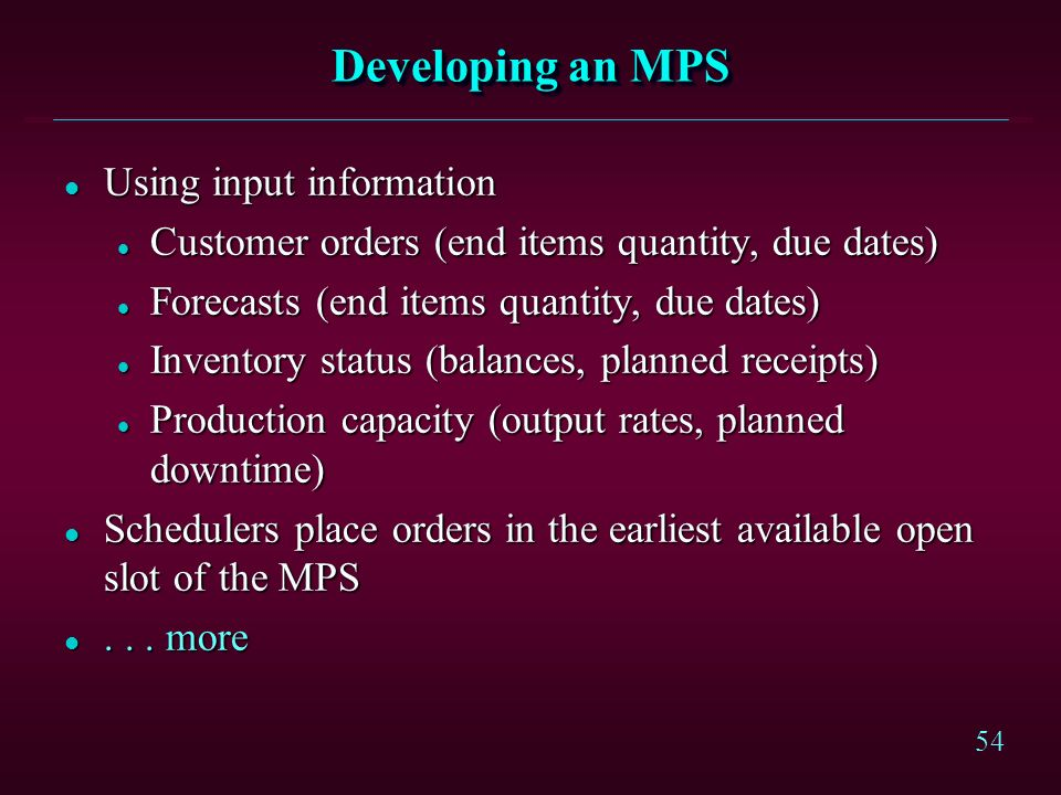 Developing an MPS Using input information