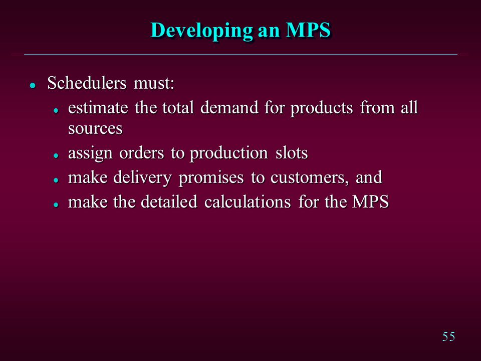 Developing an MPS Schedulers must: