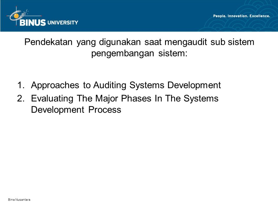Approaches to Auditing Systems Development