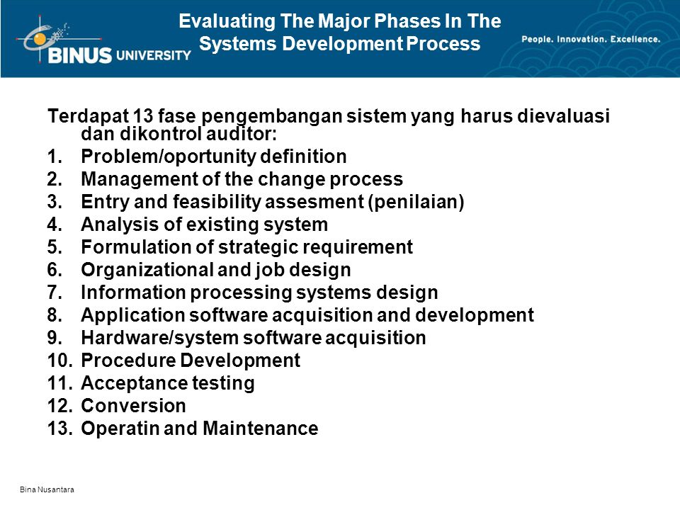Evaluating The Major Phases In The Systems Development Process